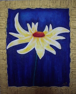 A Yellow Daisy 50x60 (Rukart Technic - Oil painting - hardboard)
