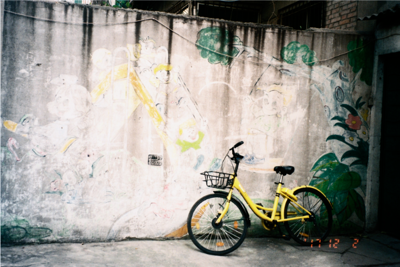 A bicycle,leaning against the wall